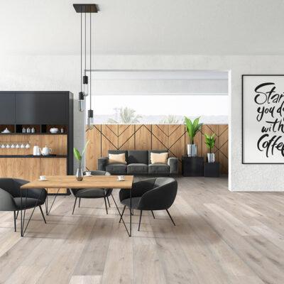 A Rocko Vinyl padló R080 Chromawood vinyl padló a modern, világos színű padlóváltozatok egyike, amely vízálló és foltálló tulajdonságú.